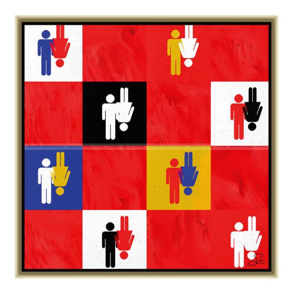 Husband & wife : 50 x 50 cm – Grafisk kunst på lærred af Søren Grooss – Årstal : 2011