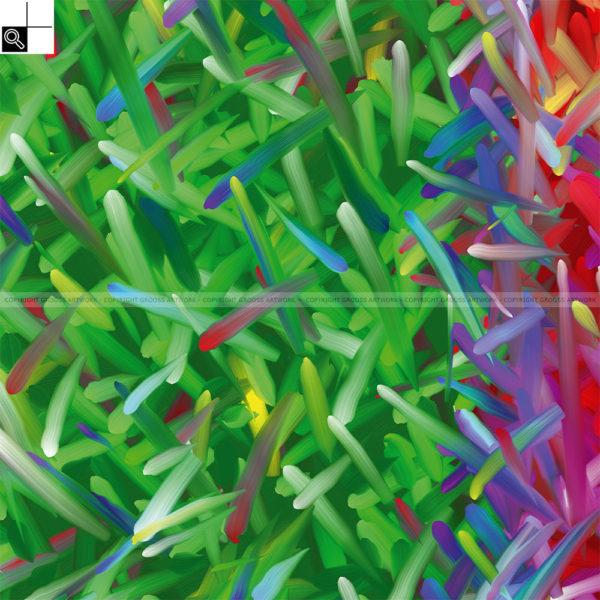 Wild flowers : 50 x 50 cm – Grafisk kunst på lærred af Søren Grooss – Årstal : 2011