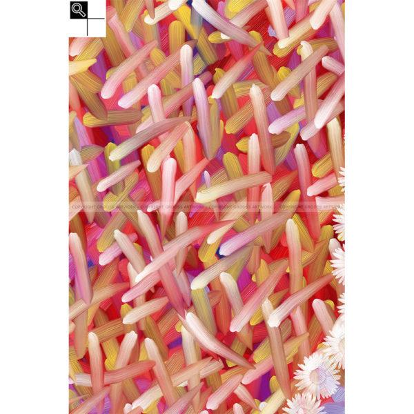 We play on the meadow : 40 x 60 cm – Grafisk kunst på lærred af Søren Grooss – Årstal : 2011