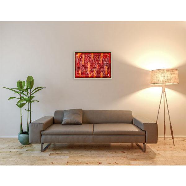 Printed circuit board : 70 x 50 cm – Grafisk kunst på lærred af Søren Grooss – Årstal : 2013