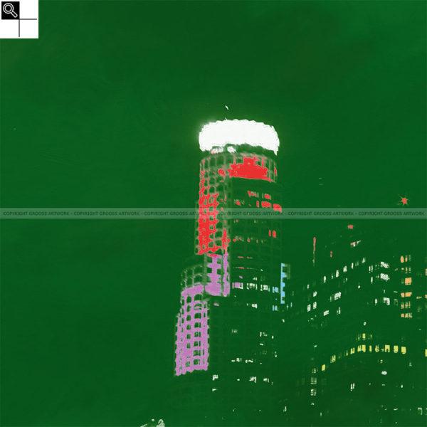 Green los angeles : 50 x 50 cm – Grafisk kunst på lærred af Søren Grooss – Årstal : 2013