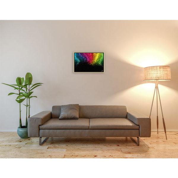 Rainbow disappearing into the darkness : 60 x 40 cm – Grafisk kunst på lærred af Søren Grooss – Årstal : 2013