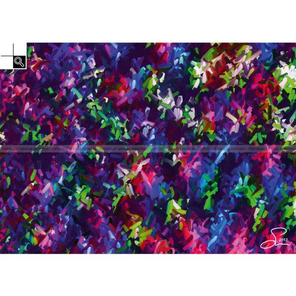 Color creek : 70 x 50 cm – Grafisk kunst på lærred af Søren Grooss – Årstal : 2013