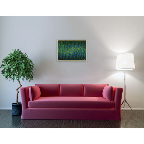 Find the dot : 70 x 50 cm – Grafisk kunst på lærred af Søren Grooss – Årstal : 2014