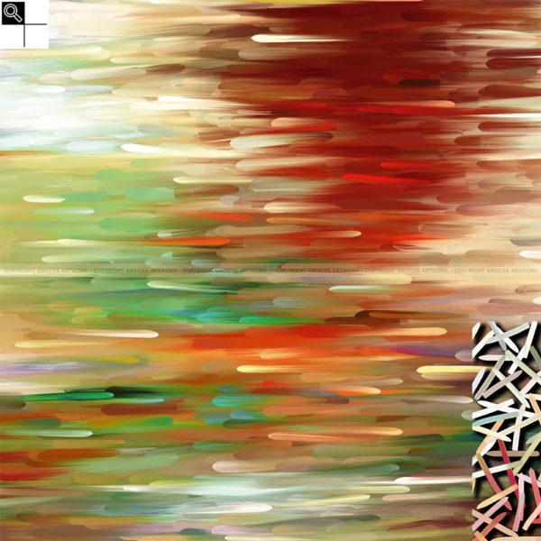 Floating away : 50 x 50 cm – Grafisk kunst på lærred af Søren Grooss – Årstal : 2014