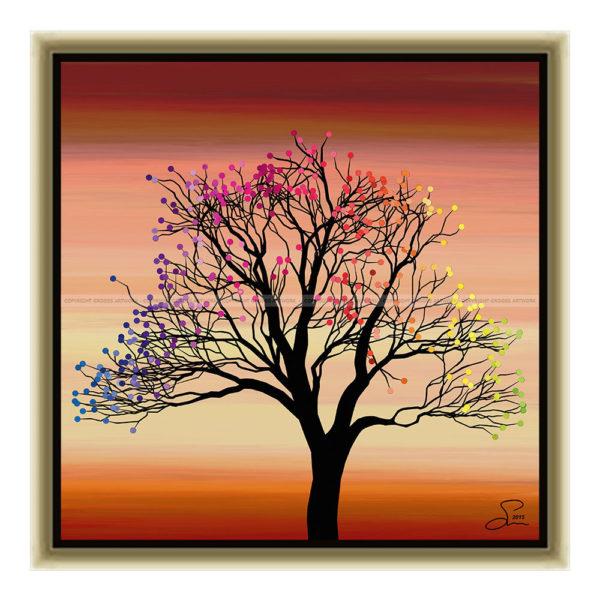Small tree ''Three'' : 30 x 30 cm – Grafisk kunst på lærred af Søren Grooss – Årstal : 2015