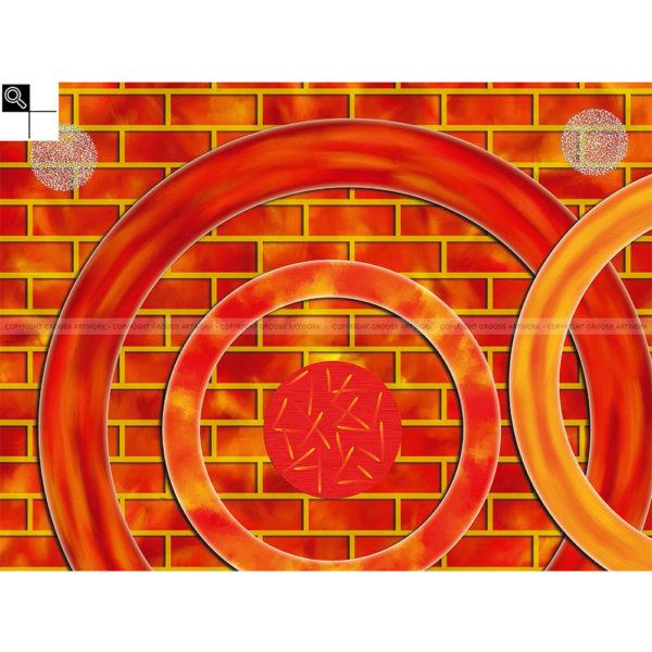 Chasing fire : 80 x 60 cm – Grafisk kunst på lærred af Søren Grooss – Årstal : 2015