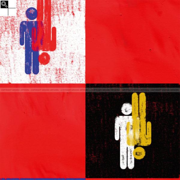 Husband & husband : 50 x 50 cm – Grafisk kunst på lærred af Søren Grooss – Årstal : 2011
