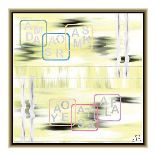 Letters : 50 x 50 cm – Grafisk kunst på lærred af Søren Grooss – Årstal : 2011