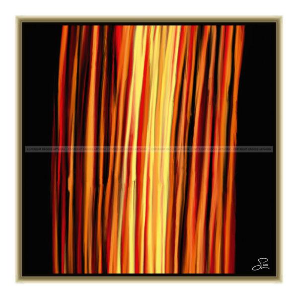 Fire : 50 x 50 cm – Grafisk kunst på lærred af Søren Grooss – Årstal : 2011