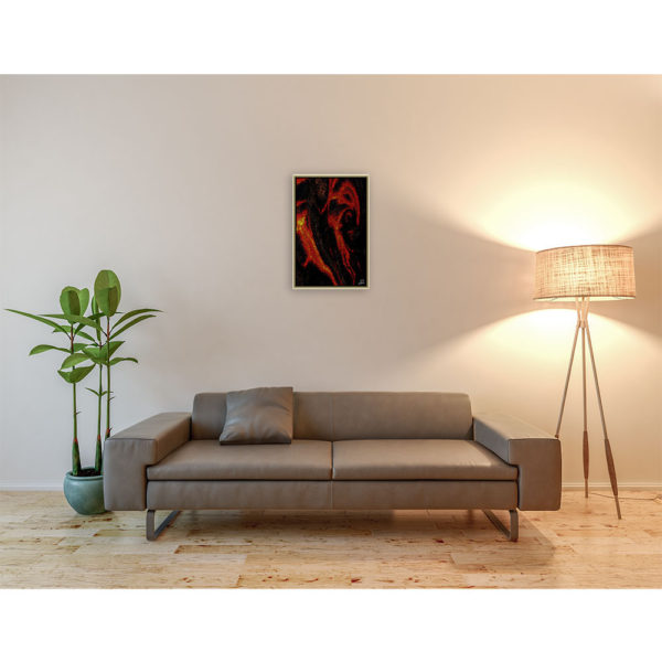 Fire down below : 40 x 60 cm – Grafisk kunst på lærred af Søren Grooss – Årstal : 2014