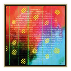 Rules and news : 50 x 50 cm – Grafisk kunst på lærred af Søren Grooss – Årstal : 2015