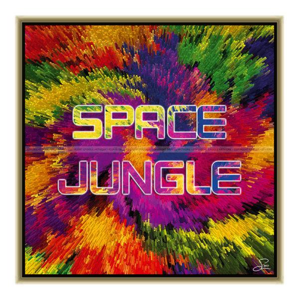 Space jungle : 50 x 50 cm – Grafisk kunst på lærred af Søren Grooss – Årstal : 2017
